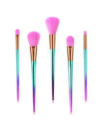Fashion Pink Blue Gradient Set Of 5 Diamond-shaped Aluminum Tube Nylon Hair Makeup Brushes
