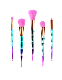 Fashion Pink Blue Gradient 5pcs Diamond Aluminum Tube Nylon Hair Makeup Brush Set