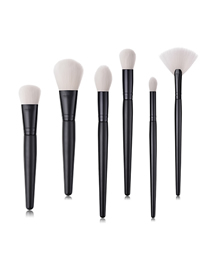 Fashion Black Black Pvc6 Small Fan-shaped Makeup Brushes With Wooden Handle And Nylon Hair