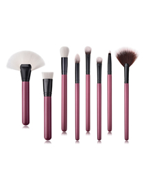 Fashion Maroon Pvc8pcs Wooden Handle Nylon Hair Size Fan-shaped Makeup Brush Set