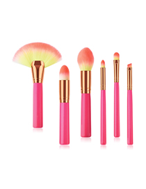 Fashion Red Pvc 6pcs Wooden Handle Nylon Hair Big Fan-shaped Makeup Brush Set
