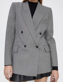 Fashion Gray Plaid Double-breasted Long-sleeved Blazer