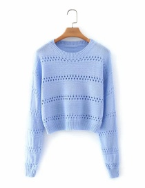 Fashion Blue Hollow Pullover Round Neck Knitted Sweater