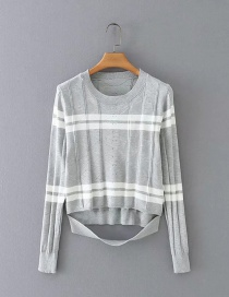 Fashion Gray Navel Stripe Stitching Contrast Long-sleeved Sweater