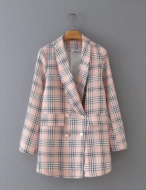 Fashion Light Pink Double-breasted Check Print Long Blazer