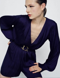 Fashion Purple Drape Deep V Pleated Jumpsuit With Belt
