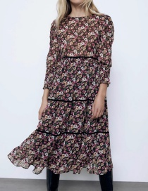 Fashion Color Flower Print Long Sleeve Dress