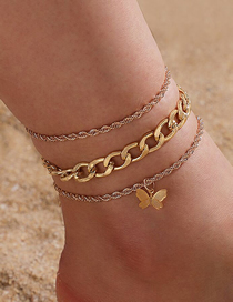 Fashion Golden Hollow Thick Chain Butterfly Anklet 3-piece Set