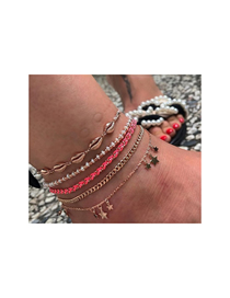 Fashion Golden Rice Beads Shell Five-pointed Star Tassel Anklet Set Of 5