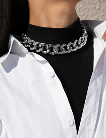 Fashion Necklace White K Single Layer Tassel With Diamond Cross Buckle Chain Earring Necklace