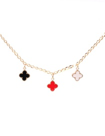 Fashion Color Mixing Dripping Four Leaf Clover Pendant Necklace