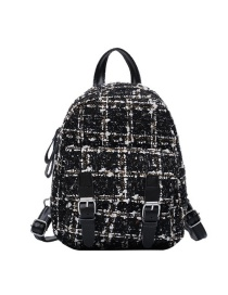 Fashion Black Woolen Plaid Belt Buckle Stitching Backpack