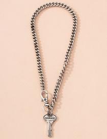 Fashion Key Key Pendant Thick Chain Letter Necklace
