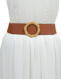 Fashion Brown Elastic Belt With Metal Ring Buckle