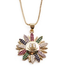Fashion Color Copper Inlaid Colored Zirconium Sunflower Smiley Necklace