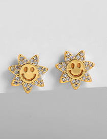 Fashion Gold Color Gold-plated And Zirconium Smiley Earrings