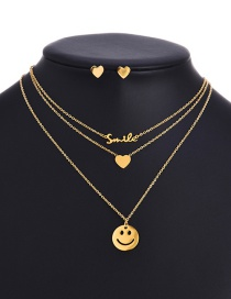 Fashion Gold Color Titanium Steel Smiley Love Letter Multi-layer Necklace And Earrings Set