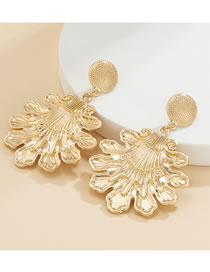 Fashion Gold Color Three-dimensional Embossed Geometric Earrings