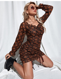 Fashion Brown Printed Woven Pleated Long Sleeve Dress