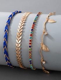 Fashion Gold Alloy Color Diamond Airplane Chain Leaf Bracelet Set