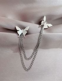 Fashion Silver Color Alloy Butterfly Chain Tassel Brooch