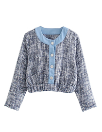Fashion Blue Line Striped Road-breasted Top