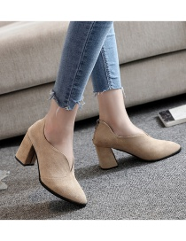 Fashion Creamy-white Mary Jane Shallow Pointy Shoes With Chunky Heel Spring