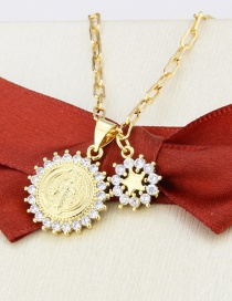 Fashion Gilded Round Virgin Mary Gold-plated And Zirconium Snowflake Pendant Necklace