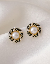Fashion Golden Twisted Twist Pearl Round Earrings