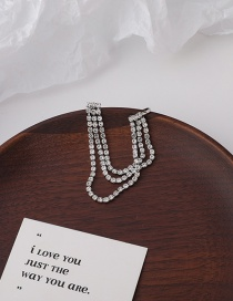 Fashion Silver Long Diamond Tassel Alloy Geometric Ear Clips