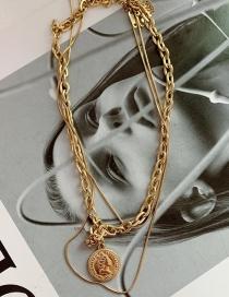 Fashion Rose Gold Polaris Oval Lettering Titanium Steel Geometric Necklace