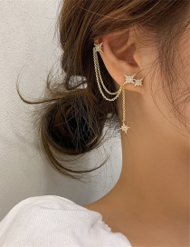 Fashion Golden Diamond Meteor Alloy Asymmetrical Earrings