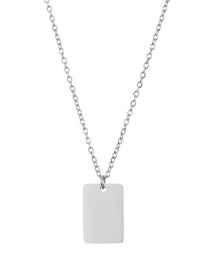 Fashion Steel Color Stainless Steel Square Gold-plated 13*9mm Necklace