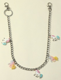 Fashion Unicorn Dice Flower Geometric Resin Pendant Alloy Multilayer Waist Chain