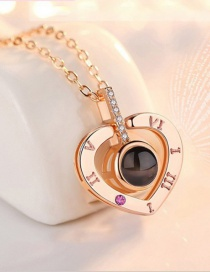 Fashion Love Rose Gold Diamond Heart Flower Hollow Alloy Necklace