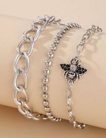 Fashion Silver 3-piece Thick Chain Bee Alloy Bracelet