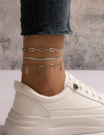 Fashion Silver Thick Chain 8-character Pendant Tassel Anklet 3-piece Set