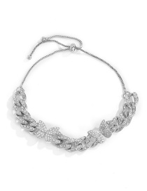Fashion White K Cuban Buckle Chain With Diamond Butterfly Anklet