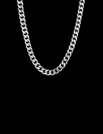 Fashion Steel Color 3mm40cm Stainless Steel Six-sided Cuban Chain Thick Chain Necklace