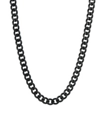 Fashion Black 5mm60cm Stainless Steel Six-sided Cuban Chain Thick Chain Necklace