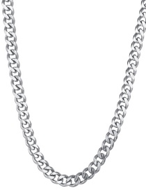 Fashion Steel Color 7mm50cm Stainless Steel Six-sided Cuban Chain Thick Chain Necklace