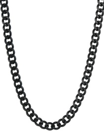 Fashion Black 7mm60cm Stainless Steel Milled Six-sided Cuban Chain Thick Chain Necklace