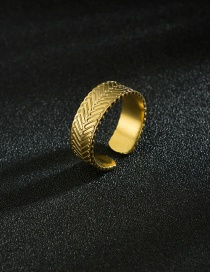 Fashion Golden Stainless Steel Twill 14k Gold Open Ring