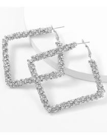 Fashion Silver Color Square Alloy Diamond Earrings