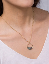 Fashion Gold Color Natural Colored Abalone Shell Circle Pendant Necklace