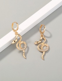 Fashion Gold Color Snake Alloy Cutout Earrings With Diamonds