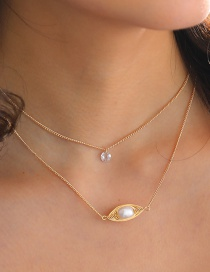 Fashion Gold Color Natural Freshwater Pearl Geometric Pendant Multilayer Necklace