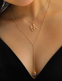 Fashion Gold Color Letter Natural Freshwater Pearl Pendant Multilayer Necklace