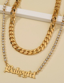Fashion Gold Color Thick Chain Letters Diamond Alloy Multilayer Necklace