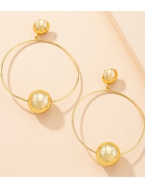 Fashion Gold Color Geometric Round Bead Alloy Earrings